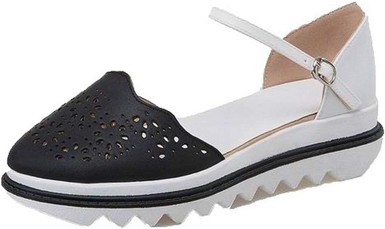 WeiPoot Women's Kitten-Heels Pu Assorted color Buckle Round-Toe Sandals, EGHLH007732