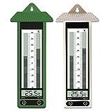 Termometro esterno giardino digitale da parete - 2 pezzi - Termometro Mini Maxi - Visualizzazione digitale - Temperature estreme ( -40 °C / +50°C ) - 22 cm x 9 cm - Plastica - Beige e verde