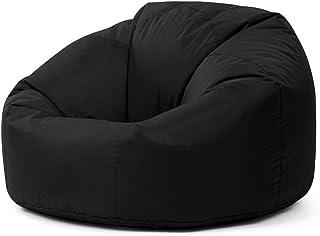 Bean Bag Bazaar Sillón Tipo Puf Clásico - 84cm x 70cm, Puf Grande para Interiores y Exteriores (Negro, 1)