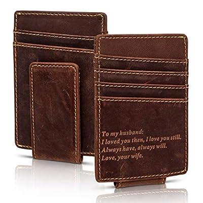 Wife To Husband Engraved Minimalist Slim Leather Wallet Money Clip Gift Valentine's Day Birthday Anniversary