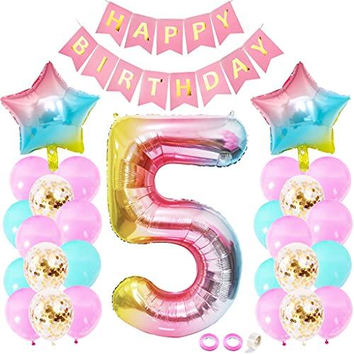 Juland Globos de látex para decoración de 5º cumpleaños, globos de helio para fiestas de cumpleaños con texto 'Happy Birthday', arcoíris