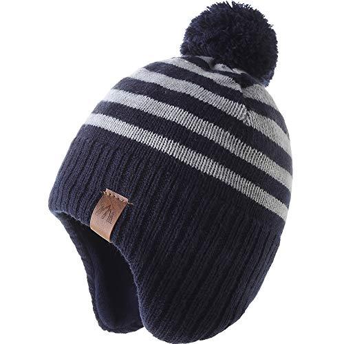 Monimo Jungen wintermütze Stricken Hut Verdicken Ohrenschützer Hut für Kinder,Grauer Streifen,6-10 Jahre