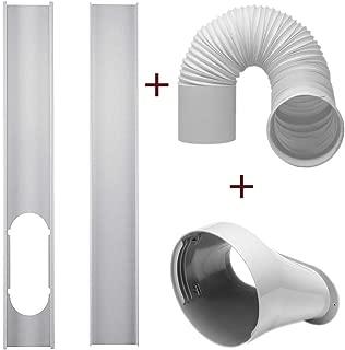 dezirZJjx Air Conditioner Accessories, 2Pcs Window Slide Kit Plate +5.9'' Window Adapter Tube Connector +5.90