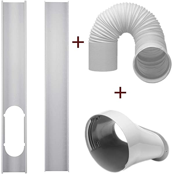 DezirZJjx Air Conditioner Accessories 2Pcs Window Slide Kit Plate 5 9 Window Adapter Tube Connector 5 90 Exhaust Hose For Portable Air Conditioner