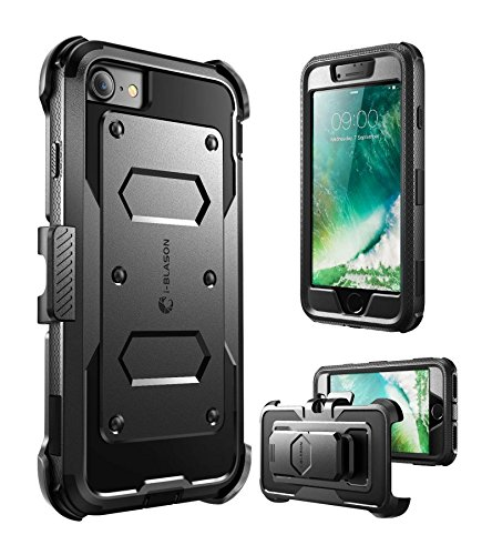 i-Blason Cover iPhone 8 iPhone 7, Custodia Rigida con Cavalletto Protezione per Display Integrata Rugged Case per iPhone 7 / iPhone 8, Nero