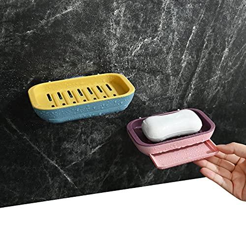 YancLife Seifenschale, 2 Stück Seifen Halter Seifenablage mit Wandhalterung, Selbstklebende Seifenkiste Seifen Box mit Wasserspeicherfunktion für Badezimmer/Küche/Dusche - Keep Seife Bars Dry & Clean