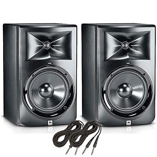 """(2) JBL LSR308-8"""" Two-Way Powered Studio Monitors + (2) 10 ft. TRS Cables (B-Stock)"""
