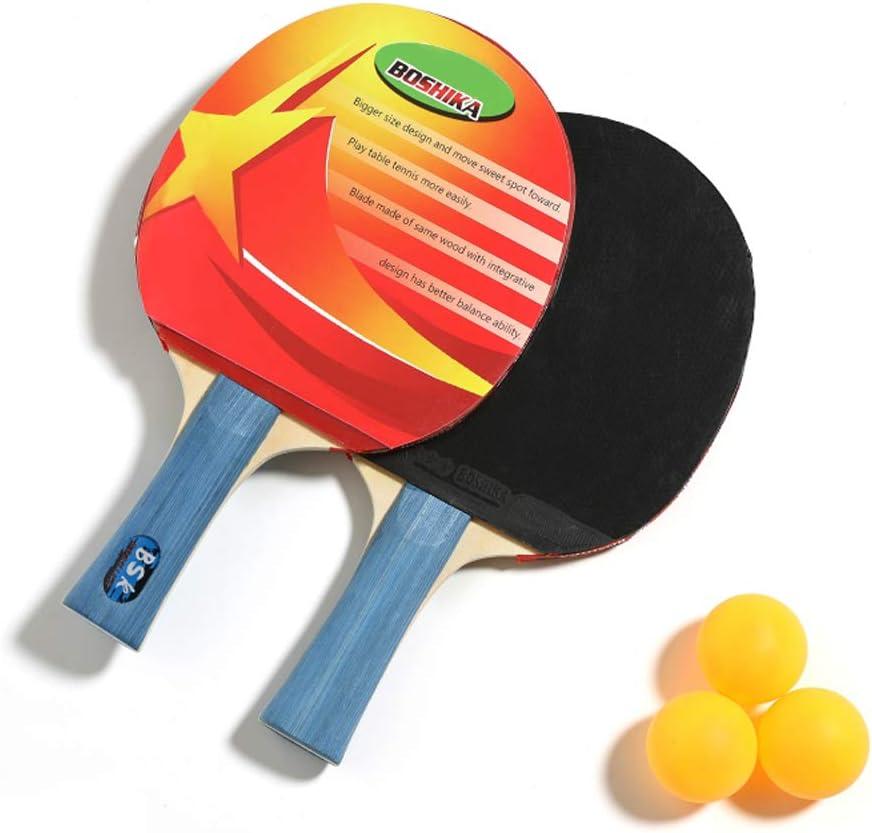 Mesa De Ping Pong Raqueta Bate, Profesional De Ping-Pong De La Paleta con 3 Bolas Y Bolsa De Transporte, Mango Abocinada del Ping-Pong del Palo De Regalo para Niños Y Niñas