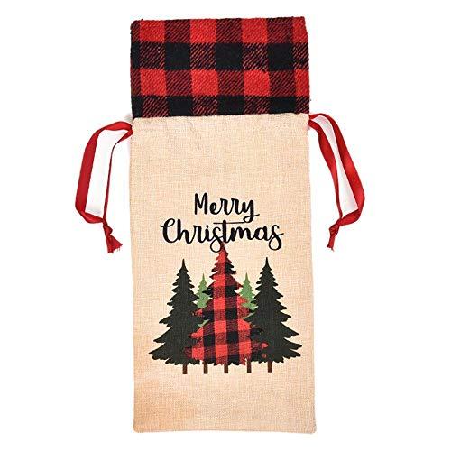 SHUNYUS Capas de garrafa de vinho de Natal com suporte xadrez para garrafa de vinho, bolsa de garrafa de vinho para decorações de festa de Natal, capa champanhe, roupa de vinho tinto moderna, linda decoração de casa