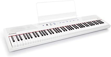 Alesis Recital White   All White 88-Key Digital Piano / Keyboard with Full-Size Semi-Weighted Keys, Power Supply, Built-In Speakers and 5 Premium Voices