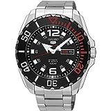 Seiko Men's Seiko 5 43.5mm Steel Bracelet & Case Hardlex Crystal Automatic Black Dial Watch SRPB35K1