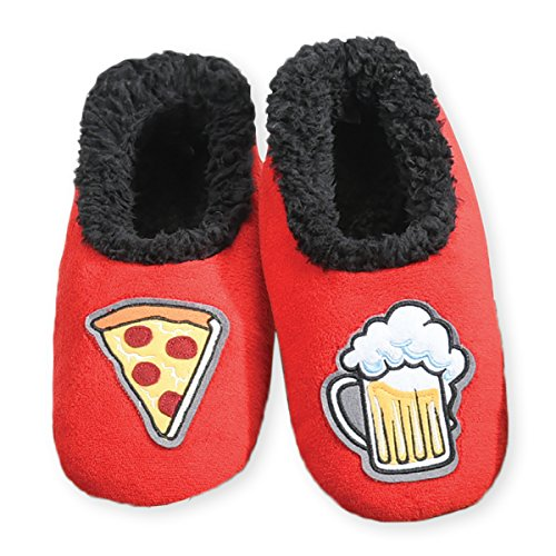 Snoozies Mens Pairable Slippers | Comfortable Slippers for Men | Fuzzy Mens Slipper Socks | Soft Sole Mens House Slippers | Pizza & Beer | Small