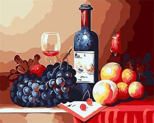 wojinbao DIY Digital Painting-Adults Paint nach Anzahl Kits-Rotwein einzigartige Ölgemälde Geschenk Erwachsene Kinder Paint Number Kits Home Decorations(Mit Rahmen)