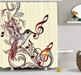daimin Flying Bird y Music Notes Clef Five Line Staff Musical Creative Image Set de Cortinas de Ducha 180x200cm
