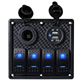 WUPP Boat Rocker Switch Panel Waterproof 4 Gang ON Off Electrical Switches with 3.1A Double USB Power Charger 12V Cigarette Lighter Socket for Marine Car RV Truck Jeep
