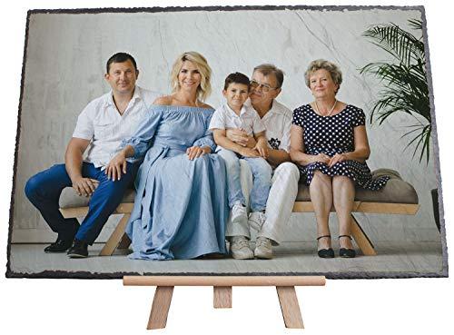 wandmotiv24 Ihr Foto auf Schieferplatte mit Staffelei - 1-teilig - Querformat 30x20cm (BxH), Stein Bild gestalten, Schiefertafel, personalisierter Schiefer Fotogeschenke, Geschenk