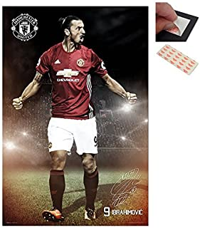 Bundle - 2 Items - Zlatan Ibrahimovic Manchester United 2016 / 2017 Poster - 91.5 x 61cms (36 x 24 Inches) and a Set of 4 Repositionable Adhesive Pads For Easy Wall Fixing