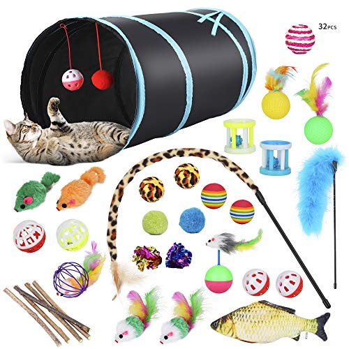 PETTOM Katzenspielzeug Set mit katzentunnel, Bälle, Federspielzeug, Kätzchen Maus Spielzeug, Plüschspielzeug, Feder Teaser, Spielzeug für Katzen Kitty Variety Pack, 32 Stück