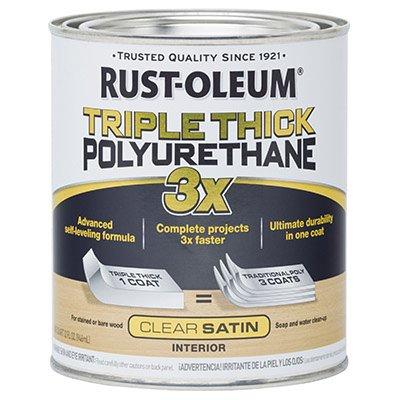 Rust-Oleum 284486 Woodcare Triple Thick Polyurethane, 32 Fl Oz (Pack of 1), Satin