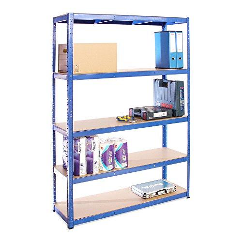 Scaffale per Garage – Scaffalatura – 180cm x 120cm x 40cm – Blu – 5 Ripiani (175Kg a ripiano) – Capacità di carico 875Kg – 5 Anni di Garanzia
