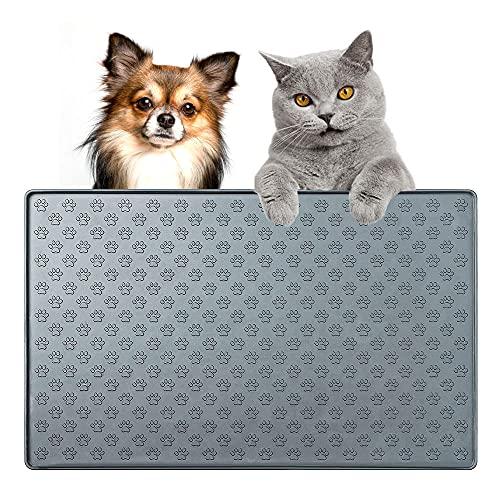 JINYOMFLY Napfunterlage Katzen Hund,Futtermatte für Haustierfutter,Silikon Fressnapf Unterlage für Futternäpfe Wassernapf,wasserdichte und rutschfeste,47x30cm (Graues Krallenmuster)
