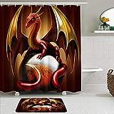 Juego de cortinas y tapetes de ducha de tela,Dragon Ball Alas doradas Dragón rojo Acostado sobre una bola de cristal D,cortinas de baño repelentes al agua con 12 ganchos, alfombras antideslizantes