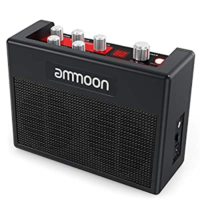 ammoon Guitar Amp POCKAMP 5 Watt Portable Guitar Amplifier Amp Built-in Multi-effects 80 Drum Rhythms Support Tuner Tap Tempo Functions with Aux Input Headphone Output, Power adapter included from ammoon