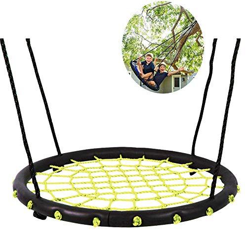 GONGFF Schaukel, Spinnennetz Baumschaukel Gartenschaukel für Kinder Erwachsene für bis zu 30 kg, verstellbar, gelb