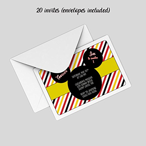 Customized - Mickey Mouse Birthday Party Invitation (20 invites with envelopes)