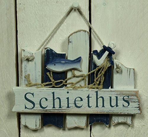Unbekannt Türschild Schiethus aus Holz mit Fisch ca. 17x13cm Maritime Bad Deko