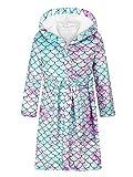 winying Mädchen Einhörner Bademantel Morgenmantel mit Kapuze Flauschig Kimono Cartoon Hausmantel zum Binden Mermaid D 158-164