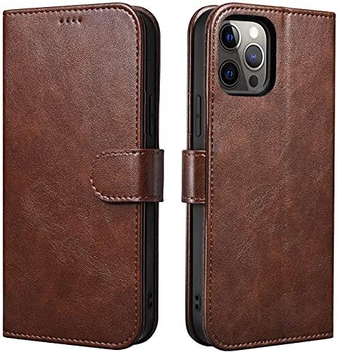 TRUNYEE Funda tipo cartera para iPhone 12/12 Pro, funda protectora de piel sintética de primera calidad, compatible con iPhone 12/12 Pro de 6.1 pulgadas (marrón oscuro)