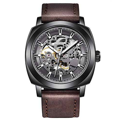 Benyar Automatic Mechanical Skeleton Leather Strap Men's Watch (Black Color Dial Brown Color Strap)