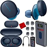 Sony WF-XB700 Truly Wireless Earbuds Headphones with Extra BASS and Built-in Microphone for Hands Free Calling - Blue WF-XB700/L Charging Case Bundle Including Deco Gear Power Bank + Headphone Cloth