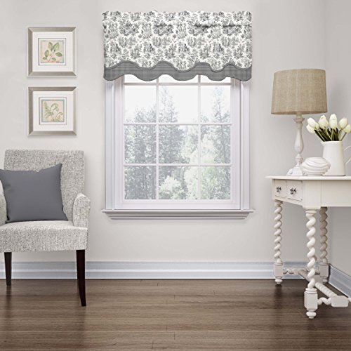 """WAVERLY Valances for Windows - Charmed Life 52"""" x 18"""" Short Curtain Valance Small Window Curtains Bathroom, Living Room and Kitchens, Onyx"""