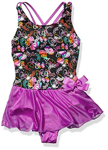 Jojo Siwa By Danskin Girls Big Rainbow Bows Dance Dress, Party Print/Studio purple-91000, Small