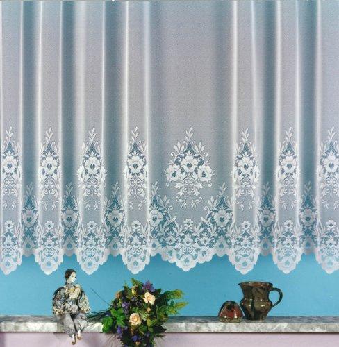 heimtexland Gardine, Vorhang, Store weiß aus hochwertigem Jacquardstore mit transparentem Oberstoff und Kräuselband, H X B 175 X 300 cm