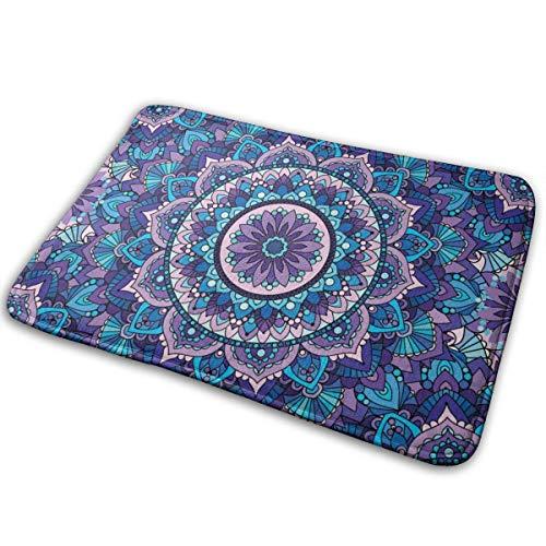 Bathroom Rugs Bath Mat Door Mats Purple Mandala Pattern Memory Foam Front Kitchen Rug Carpet for Inside Outdoor 15.7 X 23.5 in
