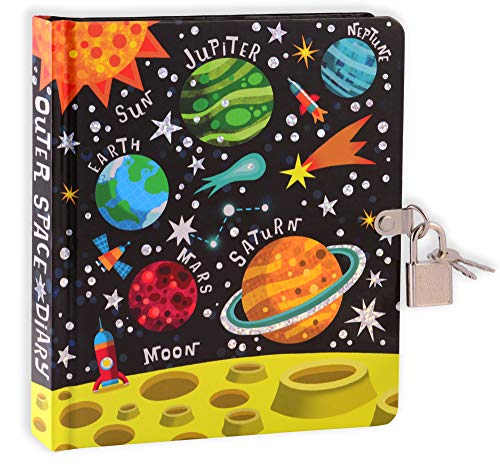 MOLLYBEE KIDS Outer Space 6.25  Lock and Key Diary for Boys and Girls, 208 Lined Pages