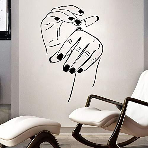 Blrpbc Adhesivos Pared Pegatinas de Pared Salón de Belleza Hermosas Manos de Dama Cuidado de Las uñas Decoración Sala de Estar Murales artísticos 119x79cm