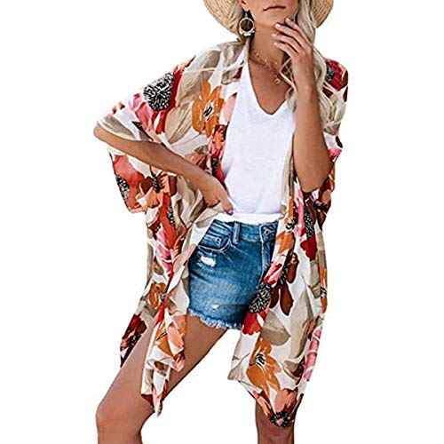YYH vrouwen chiffon - losse sjaal - chiffon bloemenprint Kimono Cardigan verflakking Boho zomer casual blouse strandbadkleding Small 1