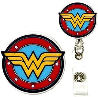 Superhero Real Charming Retractable Swivel Alligator ID Badge Holder Badge Reel (Wonder SA)