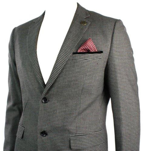 Veste Homme Tweed rétro Vintage Brun Gris Carreaux empiècement coude Noir