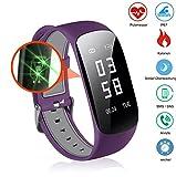 Slim Touch Wasserdicht Fitness Armbänder mit Pulsmesser,Smart Fitness Tracker mit Herzfrequenzmesser, Schrittzähler, Schlaf-Monitor, Aktivitätstracker,Anrufen/SMS, für Android iOS Smartphone