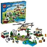 LEGO 60302 City Wildlife L'opération de Sauvetage des Animaux Sauvages, Jouet Voiture vétérinaire, Jeu d'hélicoptère, Cadeau pour Enfant de 6 Ans