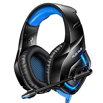 RUNMUS Gaming Headset PS4 Headset with 7.1 Surround Sound Xbox One Headset with Noise Canceling Mic & RGB Light Compatible w/ PS4 Xbox One Adapter Not Included  PC Laptop Sony PSP Blue