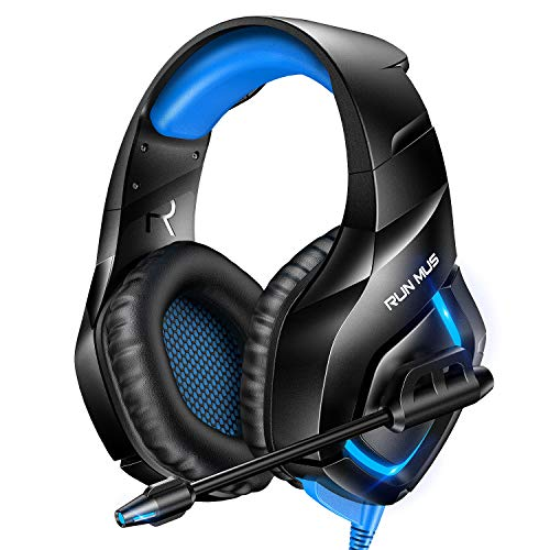 RUNMUS Gaming Headset PS4 Headset with 7.1 Surround Sound, Xbox One Headset with Noise Canceling Mic & RGB Light, Compatible w/ PS4, Xbox One(Adapter Not Included), PC Laptop Sony PSP, Blue