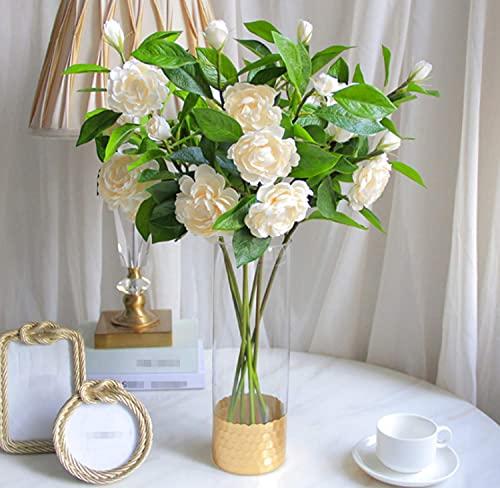 Kesio 3 flores artificiales de seda Gardenia flor de Camelia artificial para decoración del hogar de la fiesta de boda (champán)