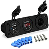 SQDeal 12V Universal Cigarette Lighter Socket + Dual USB Power Adapter Charger + LED Digital Voltmeter for Car Auto Motorcycle Boat Riding Mower Tractor Travel Trailer Caravan (3 in 1)