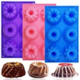 3 PCS Silicone Cake Moulds, FineGood Doughnut Maker Silicone Baking Tray Cupcake Muffin Molds Mini Cake Pan